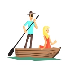 Couple In Wooden Boat vector