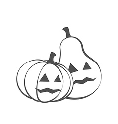 Couple Pumpkins for Halloween silhouette vector image