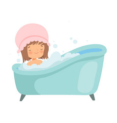 Cute little girl with shower cap taking bath vector