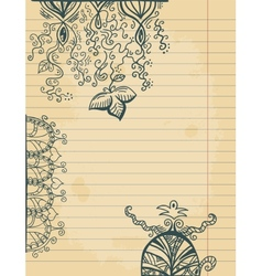 Doodles on paper sheet vector image