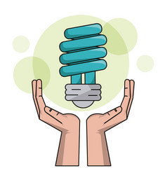 Ecology hand with bulb light halogen clean energy vector