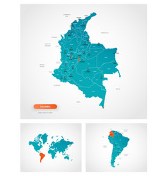 Editable template map colombia with marks vector