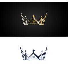 elegant crown premium logo vector image