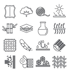 Fabric feature breathable icons set outline style vector