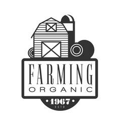Farming organic estd 1967 logo black and white vector