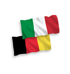 Flags of italy and belgium on a white background vector