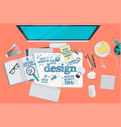Flat design concept for design process vector