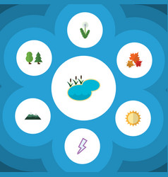 Flat icon ecology set of canadian peak floral vector