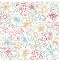 Floral tile pattern flower background garden vector