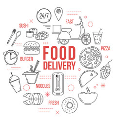 food delivery concept with thin line icons vector image
