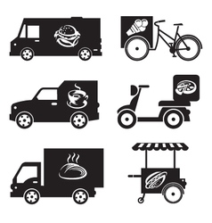 food transport icons vector image
