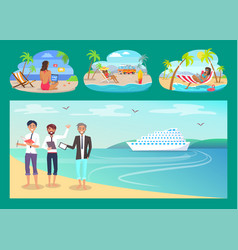 Freelancers work with comfort at sandy beaches set vector