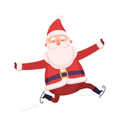 funny happy santa claus skating cute christmas vector image