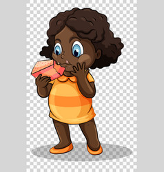 girl eating cake on transparent background vector image