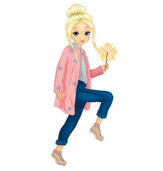 Girl in pink fur holds sparkler vector