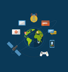 global networking icons vector image