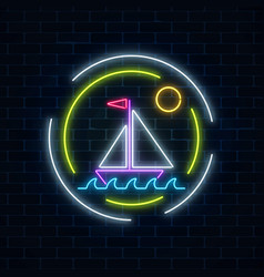 Glowing neon summer sign with sailing ship in vector
