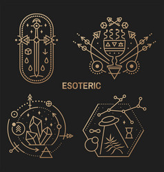 Gold esoteric symbols thin line geometric badge vector