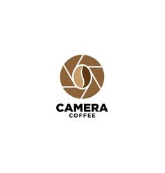 Green nature camera coffee logo design template vector