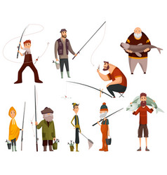 group fishermans fishing with fish fishing people vector image