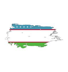 grunge brush stroke with uzbekistan national flag vector image