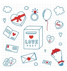 Hand drawn Valentines Day isolated objects vector
