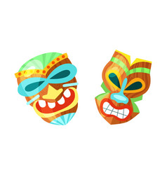hawaiian totem masktiki god wood statues wooden vector image