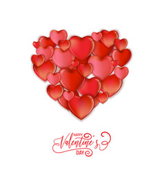 Hearts happy valentines day love card flyer vector
