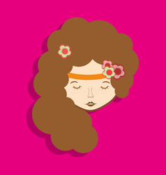 Hippie woman face meditation vector