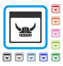 horned ancient helmet calendar page framed icon vector image
