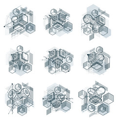 isometric abstract backgrounds with lines and vector image