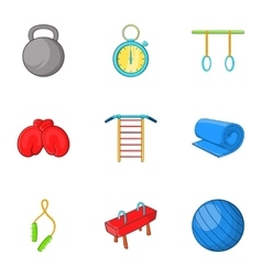 Lesson in gym icons set cartoon style vector image