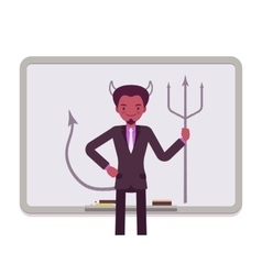 Man against the whiteboard with drawn devil vector image