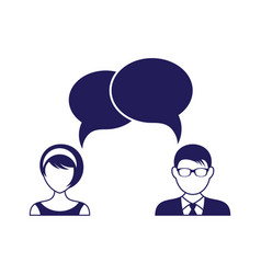 man and woman with dialog speech bubbles vector image