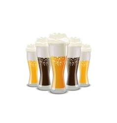 Many glasses of light and dark beer with foam on vector image