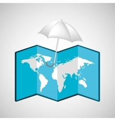 Map with icon umbrella weather graphic vector
