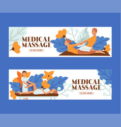 Medical massage people set banners vector