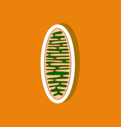 Mitochondrion paper sticker on stylish background vector