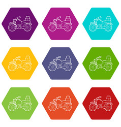 motorcycle with boxes icons set 9 vector image