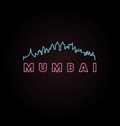 mumbai skyline neon style vector image vector image