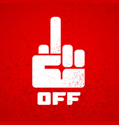 Off hand finger sign icon isolated on red vector
