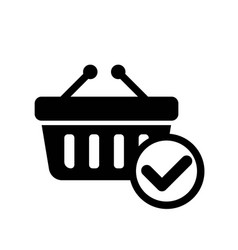 Online basket checkout icon vector
