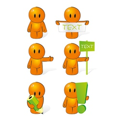 Orange man performs actions vector