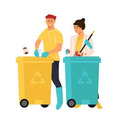 people putting rubbish in trash bins cartoon man vector image