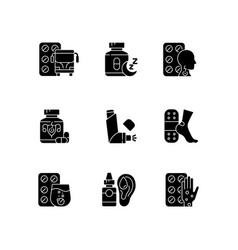 Pharmaceutical drugs black glyph icons set vector