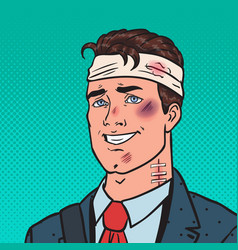 Pop art beaten positive businessman man injured vector