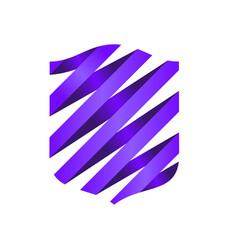 purple spiral ribbon modern shield symbol logo vector image