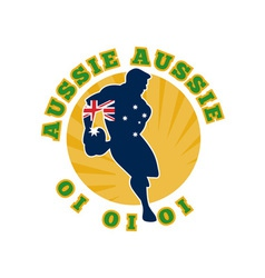Rugby running player flag of australia vector
