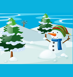 Scene with snowman in the snow field vector
