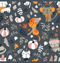 seamless pattern cats wearing scarf playing on vector image